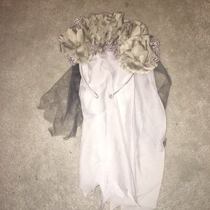 Accessories - Halloween costume skeleton veil headband